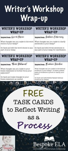 This FREEBIE by Bespoke ELA contains task cards to use at the end of Writer's Workshop to reflect writing as a process. Great for secondary English Language Arts in grades (language arts posters ideas) 6th Grade Writing, High School Writing, 6th Grade Ela, Middle School Ela, Middle School English, School Essay, Third Grade, Writing Lessons, Teaching Writing