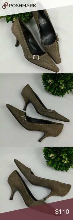 """PRADA VERO CUOIO pointed toe side buckle heels PRADA VERO CUOIO pointed toe heels with silver side buckle and ivory stitching. Made in Italy. Color is brownish green with brown insole and outsole. Has signs of wear. Selling as is.  3"""" heel 3""""width at widest part of insole True to size. Prada Shoes Heels"""