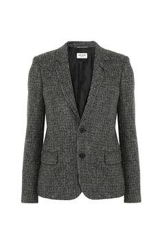 Saint Laurent Leather-Trimmed Wool-Tweed Blazer $3,350; net-a-porter.com