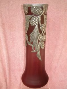 ANTIQUE LARGE AUSTRIAN GLASS VASE LOETZ, WITH METAL OVERLAY, VERY GOOD CONDITION