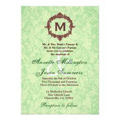 Mint Damask Chocolate  Frame Monogram Wedding Personalized Invitations