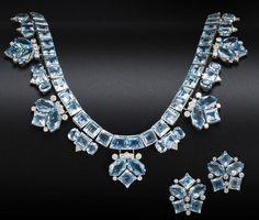 Demi-Parure: Necklace and Earrings, Cartier, 1950s, Bonham's.