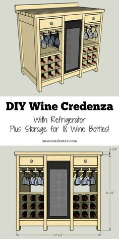 DIY Wine Credenza with Wine Refrigerator - Cabinet - Ideas of Cabinet - One of the best wine storage cabinet ideas I've seen! This small DIY wine credenza features a wine refrigerator wine glass storage plus storage for 18 wine bottles. Wine Storage Cabinets, Wine Glass Storage, Wine Rack Cabinet, Liquor Cabinet, Wine Bottle Storage Ideas, Wine Bottle Holder Wall, Bar Storage Cabinet, Wine Glass Rack, Beer Bottle