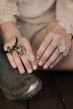 Raw stones #accessories #rings #natural that wolf ah these rings