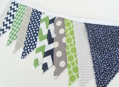 Spencer Bunting Banner, Photography Prop Fabric Flags, Nursery Decor - Navy Blue, Lime Green Dots, Grey Chevron - Ready to Ship, $30.00