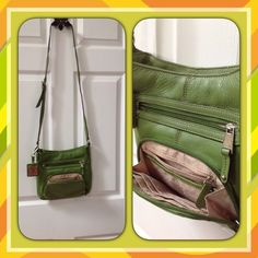 Lime Green Bag - Tignanello Bight lime green cross body bag, silver hardware, with detachable key fob. 10 x 9 measurement. Cross body 30 in long Tignanello Bags Crossbody Bags