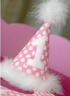 Birthday Party Hat and Bib - Perfect for First Birthday, Smash Cake Pics, Photo Prop - Cotton Candy in Pink with White Polka Dots