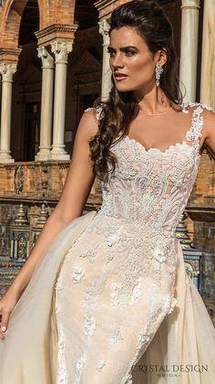 crystal design 2017 bridal sleeveless sheer jewel sweetheart neckline heavily embellished bodice lace elegant fit and flare wedding dress a line overskirt sheer back sweep train (martina) zv