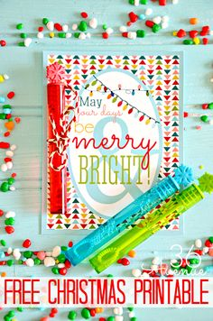 Free Christmas printable - Merry and Bright! Add bubbles for classmate gift