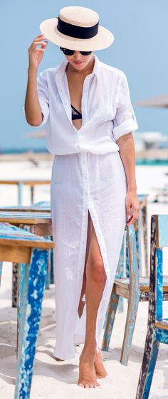 White maxi dress shirt for the beach.