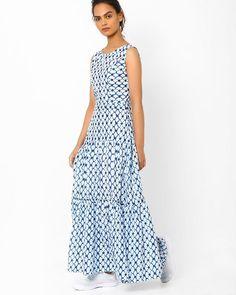 Buy White Vajor Tiered Maxi Dress | AJIO