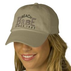 Beach Babe Embroidery Hat Baseball Cap - If you hang out at the lake all summer or know someone who just loves the beach, cottage, swimming or water waves here's the hat for her. Fun & Funky Eclectic style for wearing on vacation or all year round - this will make the fun times begin!  Great gifts for the whole family! Visit my Shop at http://www.zazzle.com/cdandc