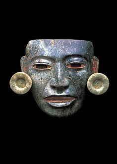 Teotihuacan Serpentine Mask with Stucco, Pyrite, Jade, and Shell Detailing | Flickr - Photo Sharing!