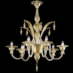 """""""Incanto"""" 6 lights Murano glass chandelier - gold and transparent"""