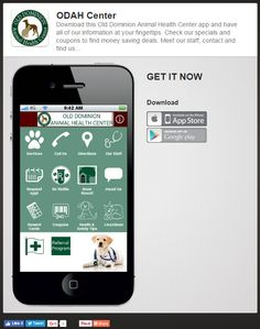 Download this Old Dominion Animal Health Center app and have all of our information at your fingertips.