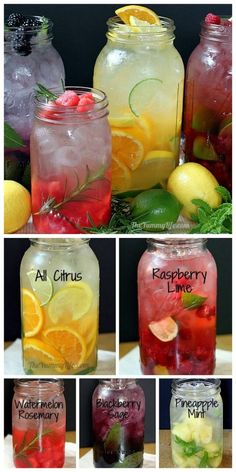 DIY Naturally Flavored Herb and Fruit Water Recipes and Instructions from The Yummy Life here. Lots of tips for making this cheap alternative to soda with simple recipes. citrus blend raspberry lime watermelon rosemary blackberry sage pineapple mint by Smoothie Drinks, Detox Drinks, Healthy Drinks, Healthy Snacks, Healthy Recipes, Simple Recipes, Healthy Water, Healthy Detox, Fruit Drinks