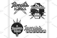 journalists school emblems by Netkoff on @creativemarket