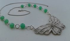 OOAK ARTISAN Handmade silver necklace wire wraped,butterfly necklace, long beaded necklace,green glass feminine necklace by magyartist by magyartist on Etsy
