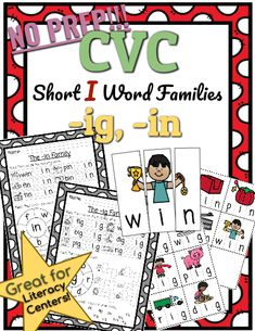 CVC *No Prep* - Short I Families -ip. Help your students practice reading and writing CVC words with this Short I Family resource! No prep needed! Simply print and teach. Cvc Words, Kindergarten Teachers, Kindergarten Activities, Short I Words, Phonics Lessons, Short Vowels, Word Families, Word Work