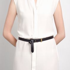 The High-Low Belt - Black - Everlane - wears at waist or hip. M or L ? wear as belt w loops or add knot/twist to wear w/ dress/tunic?