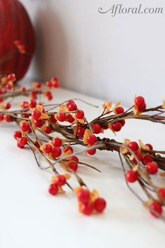 """-Bittersweet Flower Garland -Artificial -Measures 5' Long (60"""") -Orange and Red Autumn Colors -Great for fall wedding decorations."""
