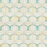 Calla, a waterjet jewel glass mosaic, shown in Quartz and Aquamarine, is part of the Miraflores Collection by Paul Schatz for New Ravenna Mosaics.