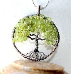 Peridot Tree Of Life Necklace, August Birthstone, Family Tree,Copper and Sterling Silver Tree Of Life Pendant. $115.00, via Etsy.
