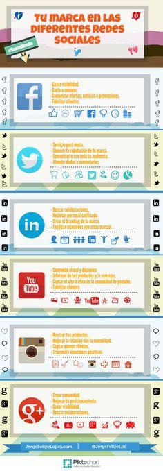 Tu marca en las diferentes Redes Sociales #socialmedia #infographic