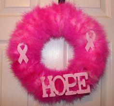 Hope - Breast Cancer Awareness Wreath. $25.00, via Etsy.