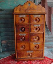 Antique 9 Drawer Spice Box Cabinet Apothecary    I like this.