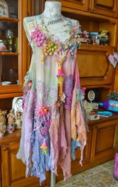 Vintage Style dress,Art To Wear ,Bohemian Romantic,Upcycled dress, Chic,Pretty,boho style dress Fairy Smile (RESERVED FOR I.)