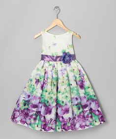 Look what I found on #zulily! Green & Purple Floral Dress - Toddler & Girls by Kid's Dream #zulilyfinds