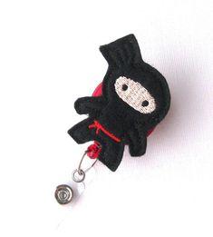 Black Ninja - Felt Badge Holder - Cute Badge Reels - Unique Retractable ID Badge Clips - Name Badge Pulls - Peds RN Badge - BadgeBlooms on Etsy, $7.00