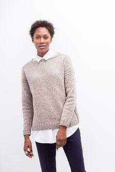 Пуловер Tallis в спортивном стиле от дизайнера Michele Wang из коллекции Бруклин Твид Зима 2016 (BT Winter 16).