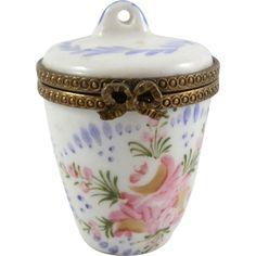 Antique Vintage Signed Hand Painted Porcelain Limoges France Floral Trinket Pill Box