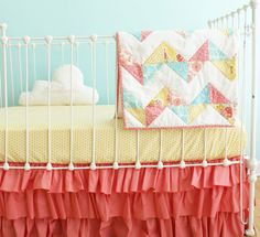 Chevron Baby Quilt -  Bumperless Coral Baby Girl Crib Bedding