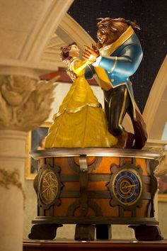 New Fantasyland update: Oversized music box topped by Beast and Belle. It actually plays music!