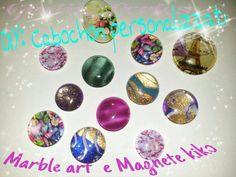 DIY: Cabochon personalizzati... tecnica Marble Art e Magnete kiko
