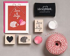 "Personalize your love note with stamps of hedge""hugs"" and hearts and more!"