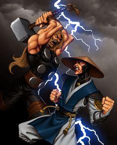 Clash of the Thunder Gods (Marvel vs Mortal Kombat) Raiden Mortal Kombat, Mortal Kombat Art, Marvel Vs, Marvel Heroes, Marvel Comics, Gi Joe, Manga Tatoo, Crossover, Minions