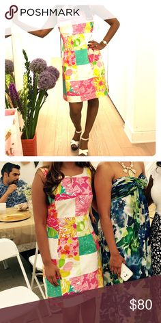 Lily Pulitzer patchwork garden party dress Gorgeous shift dress with subtle tapers around waist. Worn once to a backyard BBQ. Perfect for your upcoming summer soirées! Bundle with any other Low priced item to save more ! Will fit size 2. Lilly Pulitzer Dresses Midi