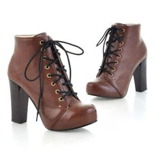 Roman Style Pure Color Lace-up High-heeled Bootie