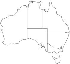 A printable map of the continent of Australia labeled with the names