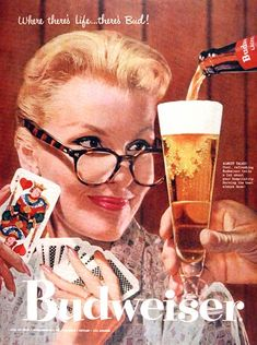 Love this old Budweiser poster.  Looks like me playing cards and drinking a Bud