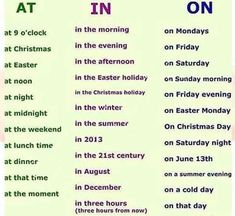 In, On, At – Prepositions of Time - ESL Buzz