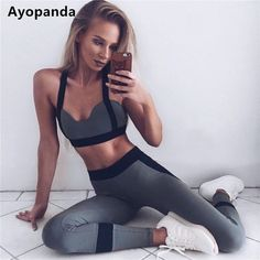 c1c7d3885b5 Ayopanda Hot Sale 2Pcs Set Women Yoga Sets Fitness Seamless Sports Bra Yoga  Pants Legging Gym Workout Jogging Dance Sports Wear