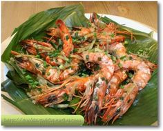 Place the banana leaves on the layer of the steamer, arrange the tiger prawns on it, sprinkle all over the remaining spices and steam the prawns for 10 minutes since water is boiling. Description from cookingwithpeachy.com. I searched for this on bing.com/images