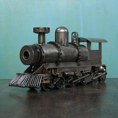 Collectible Steam Engine Train Recycled Metal Sculpture - Rustic Locomotive | NOVICA