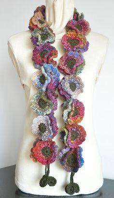 Sciarpa floreale autunno Fancy Crochet lana di jennysunny