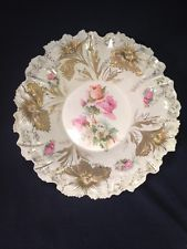 "RS Prussia Bowl Carnation Mold 11-1/2"" Gold Gilded With Roses"